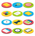 Flat Isometric Circle Business Icons Set vector image vector image