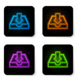 glowing neon download inbox icon isolated on vector image vector image