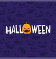 halloween party banner with pumpkin and vector image