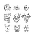 hand drawn doodle set of christmas characters vector image