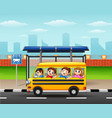 happy children riding by school bus vector image vector image