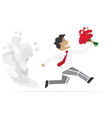 Happy Valentine Running Man with flowers vector image vector image
