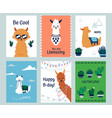 lama posters banners with cartoon alpacas and vector image vector image