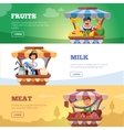 Local market farmers selling vegetables milk and vector image vector image