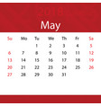 may 2018 calendar popular red premium for business vector image vector image