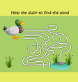 maze game help the duck to find the pond vector image vector image