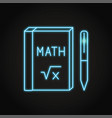 neon math book icon in line style vector image
