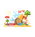 objects of summer holidays vector image vector image