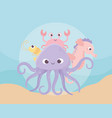 octopus seahorse crab and shrimp life cartoon vector image