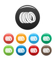 pile of tire icons set color vector image vector image
