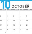 planning calendar October 2016 vector image vector image