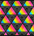 rainbow mosaic with tribal pattern vector image vector image
