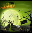 scary castle with pumpkin on graveyard vector image vector image