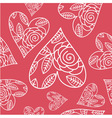 seamless pattern with heart and flowers vector image vector image