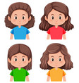 set of brunette hair character vector image vector image