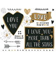 Set of different hand drawn design elements with vector image vector image