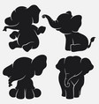 set of elephant silhouettes cartoon with different vector image vector image
