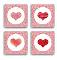 set of four backgrounds with red hearts symbol of vector image
