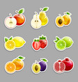 set of labels from bright fruits and their halves vector image