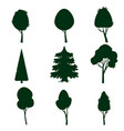 set of trees silhouette cartoon style isolated vector image
