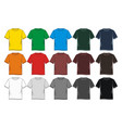 set t shirt graphic blank colorful vector image vector image