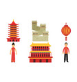 set with chinese culture vector image vector image