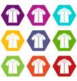shirt polo icon set color hexahedron vector image vector image