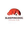 sleeping dog logo icon vector image