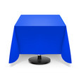 square dining table with blue tablecloth and vector image vector image