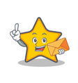 star character cartoon style with envelope vector image vector image