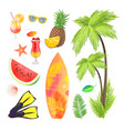 summertime icons set fruits vector image vector image