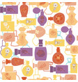 texture with perfume cosmetic bottle collection vector image vector image