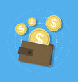 wallet and gold coins icon vector image vector image