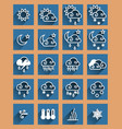 weather forecast flat icons set vector image