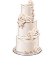 wedding cake golden decorations and rose flowers vector image vector image