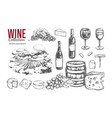 wine set hand drawn 2 vector image vector image