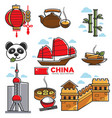 china travelling map with national sightseeings vector image