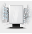Blank white vertical billboard on city scape vector image