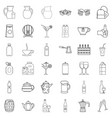 bottle crate icons set outline style vector image vector image