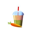 carrot smoothies in a cup superfoods and health vector image vector image