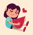 Cartoon Girl Hugging Watermelon vector image vector image