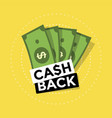 cash back icon on yellow background vector image vector image