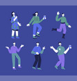 celebrating and drinking people set isolated vector image vector image
