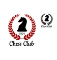 Chess club emblem with horse figure vector image vector image