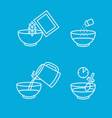 cooking instruction oatmeal thin line icon set vector image