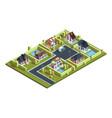 cottage village isometric suburban modern vector image