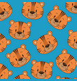 cute and little tiger heads pattern vector image vector image