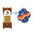 cute boy sleeping in bed and dreaming about vector image vector image