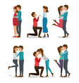 cute couple set design vector image