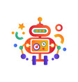 cute funny robot on wheels android character vector image vector image